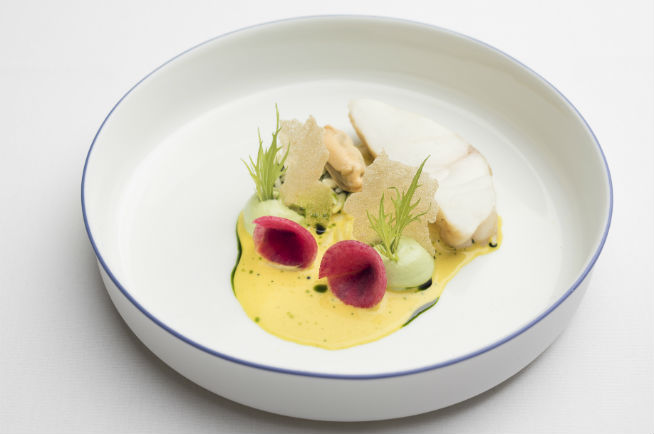 Roast Monkfish with Zeeland Mussels, Mizuna Emulsion with fragrant Saffron Sauce