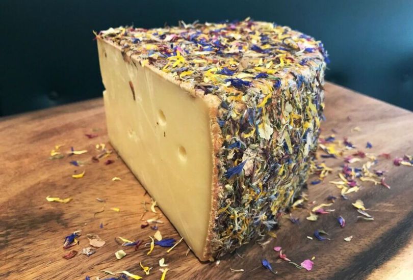 Cheese covered with Alpine flowers