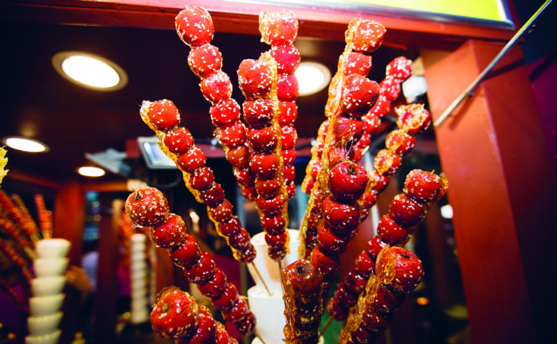 Bing tang hu lu, candied haw fruit on a stick