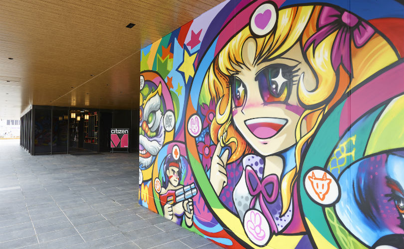 Graffiti art on the exterior entrance of citizenM Taipei North Gate