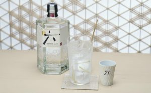 Roku Gin and Tonic with six slices of ginger