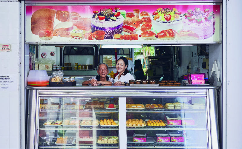 Uncle Jee with Claire Ariela Shen at Sembawang Confectionery