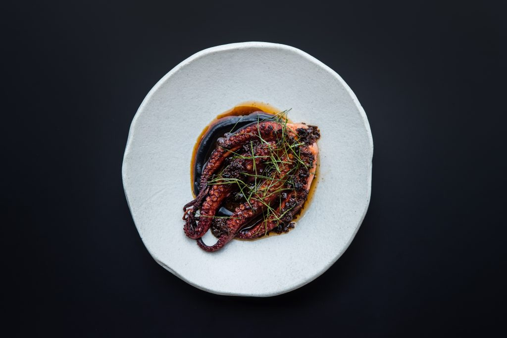 Blackwattle: Charred octopus, fennel, squid ink , XO & red vinegar
