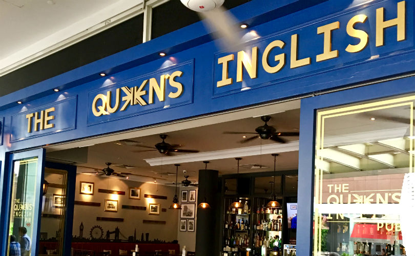 The exterior of Queen's Inglish Pub