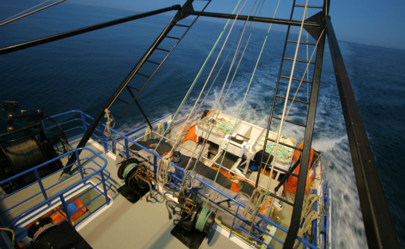 On the deck of a prawn trawler boat