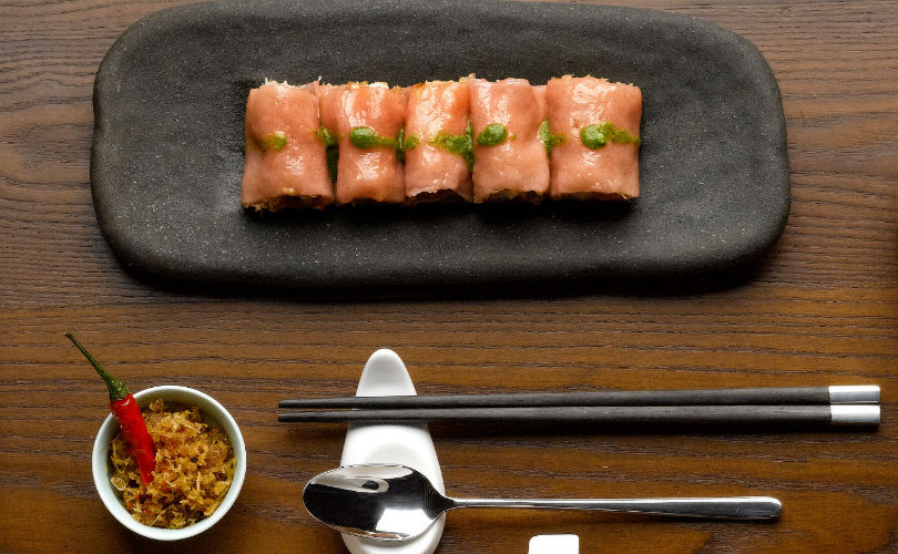 Majestic Restaurant: organic brown rice roll with prawn and Thunder Tea Hakka sauce
