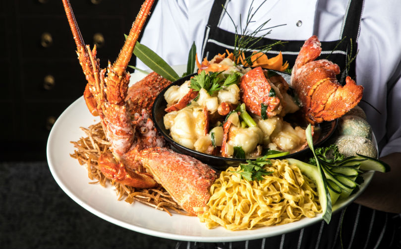 South Australian Rock Lobster with Ginger, Shallots, and Ee Mian Noddles