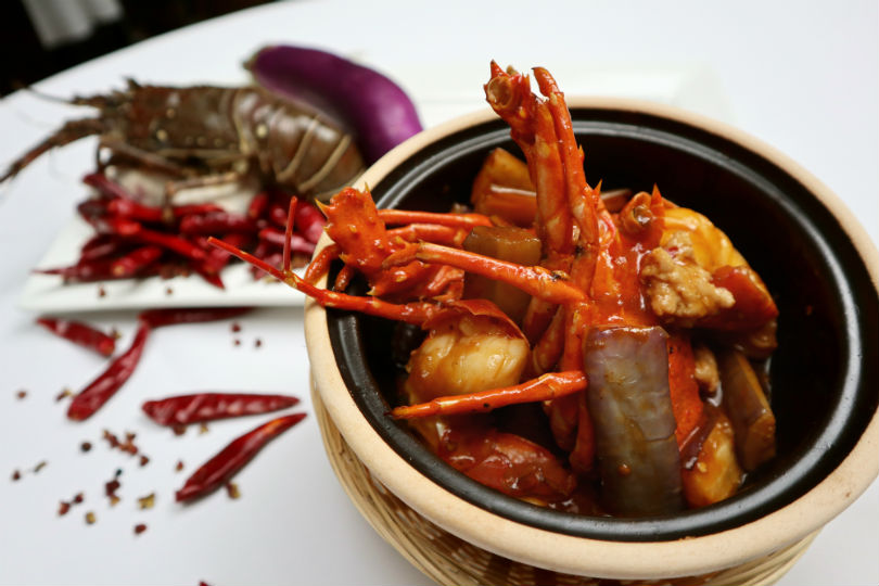 Minjiang at One North's Stewed Lobster with Eggplant and Minced Chicken with Sichuan Spices in Claypot