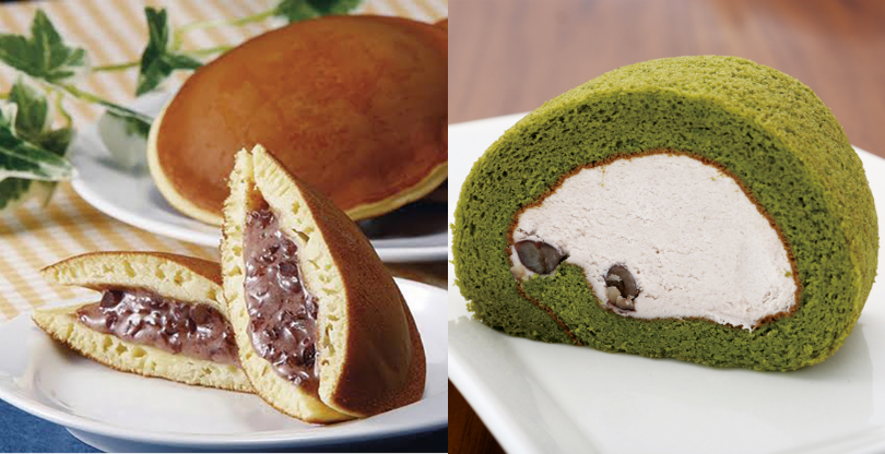 Red Bean Pancake (left) and Matcha Roll Cake