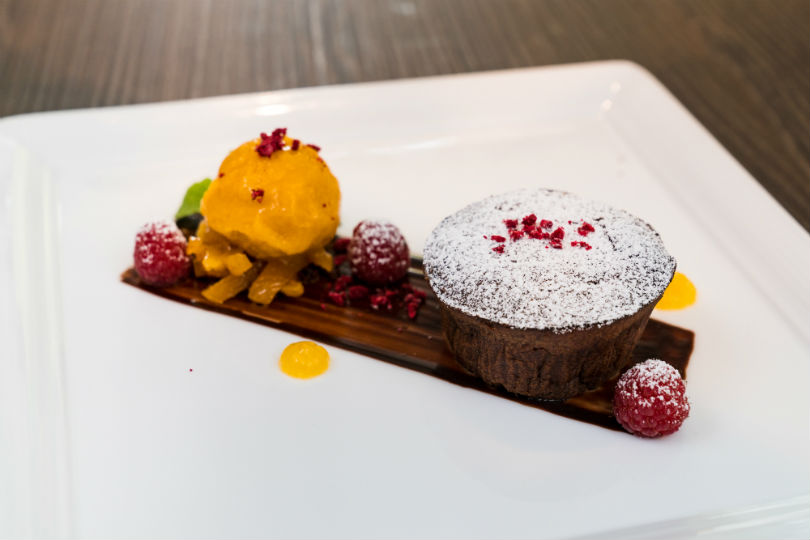 Dark Chocolate Lava Cake with Mango Sorbet