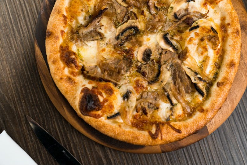 Smoked Scamorza Cheese, Balsamic Kurobuta Pork Jowl, Caramelized Onions and Mushrooms