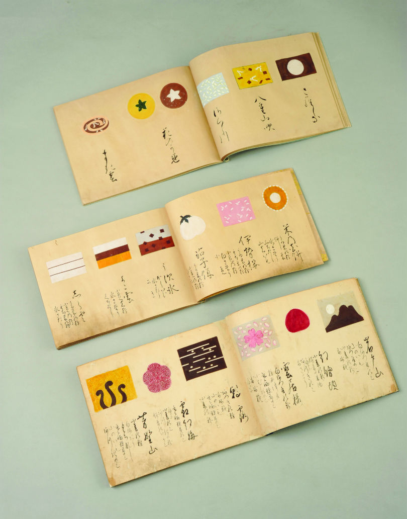 The old scrolls from Toraya detailing the different wagashi shapes.