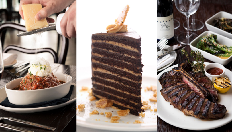 (From left) LAVO's The Meatball, 20 Layer Chocolate Peanut Butter Cake, and Porterhouse Steak